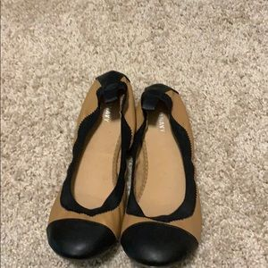 Gently used nude and black flats
